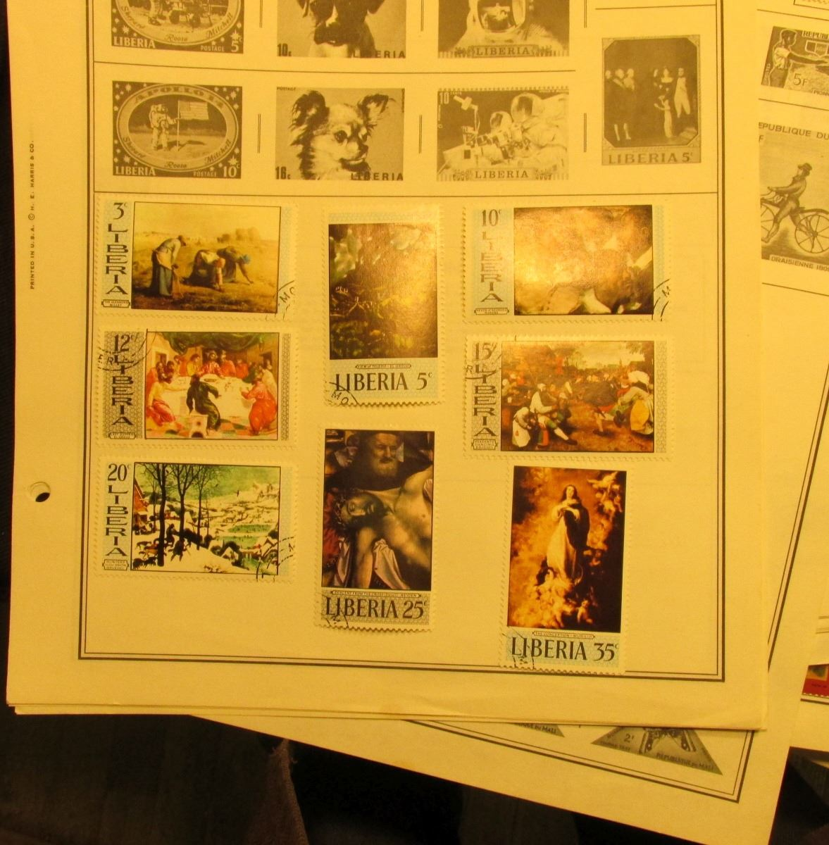 Large group of Stamp Album pages with numerous U S  & foreign Stamps  Some  mint unused condition  Ne