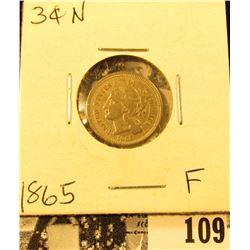 1865 U.S. Civil War Three Cent Nickel, Fine.
