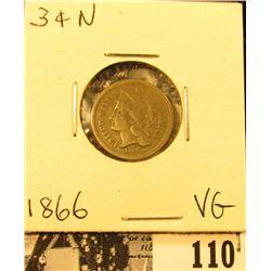 1866 U.S. Three Cent Nickel, VG.