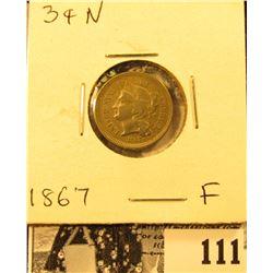 1867 U.S. Three Cent Nickel, Fine.