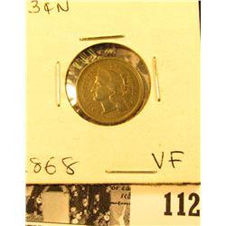 1868 U.S. Three Cent Nickel, Very Fine.