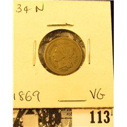 1869 U.S. Three Cent Nickel, VG.