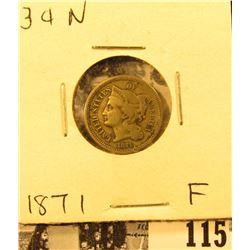1871 U.S. Three Cent Nickel, Fine.