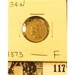 1873 U.S. Three Cent Nickel, Fine.