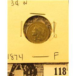 1874 U.S. Three Cent Nickel, Fine.