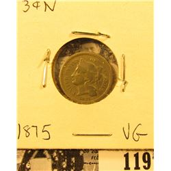 1875 U.S. Three Cent Nickel, VG.