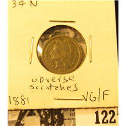 1881 U.S. Three Cent Nickel, VG/Fine. Obverse scratches.