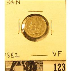 1882 U.S. Three Cent Nickel, Very Fine.