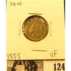 1888 U.S. Three Cent Nickel, Very Fine.