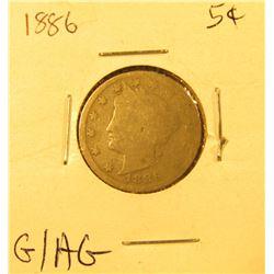 1886 Liberty Nickel, G/AG.