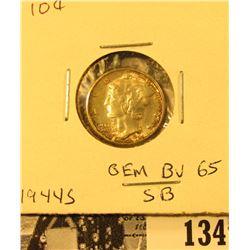 1944 S Mercury Dime GEM BU 65 FSB. Superb original toning.