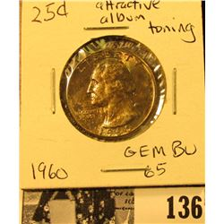 1960 P Silver Washington Quarter, Gem BU 65 with attractive album toning.