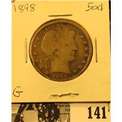 1898 P U.S. Silver Barber Half Dollar, Good.