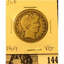 1909 P U.S. Silver Barber Half Dollar, Very Good.
