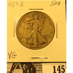 1927 S U.S. Silver Walking Liberty Half Dollar, VG.