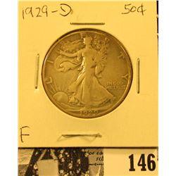 1929 D U.S. Silver Walking Liberty Half Dollar, Fine.