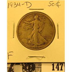 1934 D U.S. Silver Walking Liberty Half Dollar, Fine.