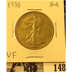 1938 P U.S. Silver Walking Liberty Half Dollar, Very Fine.