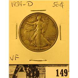 1939 D U.S. Silver Walking Liberty Half Dollar, Very Fine.