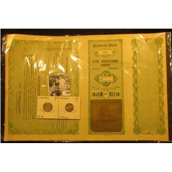 """Steril Manufacturing Company"" Preferred Stock Certificate with coupons, This company made the tent"