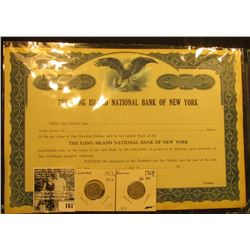"Early 1900 era unissued Stock Certificate ""The Long Island National Bank of New York"", printed by th"