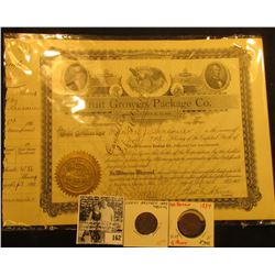 1911 One Share Stock Certificate  Fruit Grower Package Co…Jonesboro, Illinois, Gold notary seal, can