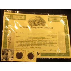 1979 One Hundred Shares Stock Certificate  Massey-Ferguson Limited Incorporated Under the Laws of Ca