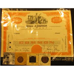 "100 Shares Stock Certificate ""Howard Johnson Company"", serial number N46490; 1889, 1907, & 1908 Grea"