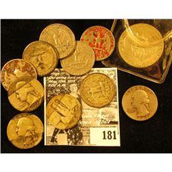 (5) Clad Washington Quarters; (5) 90% Silver U.S. Quarters; & 1962 D Silver Franklin Half Dollar. Al