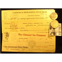 1916 Promissory Note from  The Fox Den Mining Company Oswego, Kansas ; 1952 Check  The Citizen's Ice