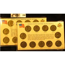 (2) Complete Sets of U.S. Silver War Nickels in special holders. (22 coins total). Circulated.
