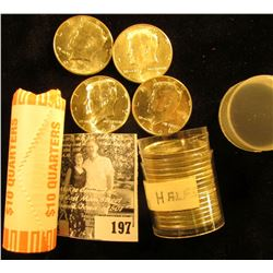 2002 D Bank-wrapped Roll of Gem BU Indiana Statehood Quarters (40 pcs); & a mixed Mint mark Roll of