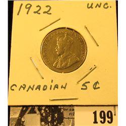 1922 Canada Nickel, EF-AU.