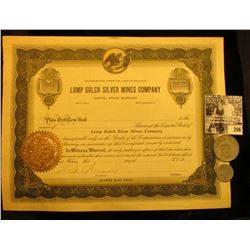 "Unissued Stock Certificate ""Lump Gulch Silver Mines…Montana"", Gold notary seal; & .10c & $1.00 Elgin"