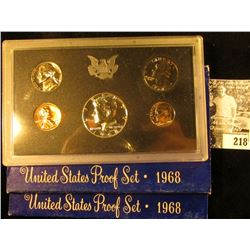 (2) 1968 S U.S. Proof Sets with Kennedy Silver Half Dollars. In original boxes of issue.