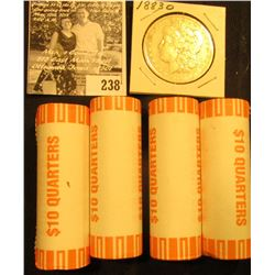 1883 O U.S. Morgan Silver Dollar, Fine &  (4) 2003 D Original Gem BU Bank-wrapped rolls of Maine Sta