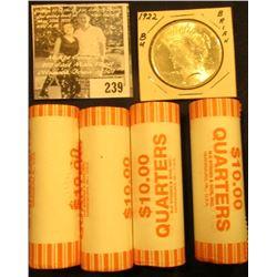1922 P Silver Dollar, Gem BU &  (4) 2006 D Original Gem BU Bank-wrapped rolls of Colorado Statehood