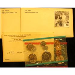 1972, 1980, & 1981 U.S. Mint Sets in original cellophane and envelopes.