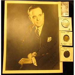 "8 1/2"" x 11"" Black & White autographed photo ""Sincerely Yours Chauncey Parsons 1936 WLUV""; pair of o"