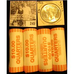 (4) Original BU Bank-wrapped Rolls of 2004 Wisconsin Statehood Commemorative Quarters; & 1922 P U.S.