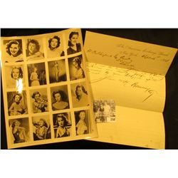 "8 1/2"" x 11"" Studio Black and white photograph of Debra Paget, Ava Gardner, Jane Russell, Doris Day,"