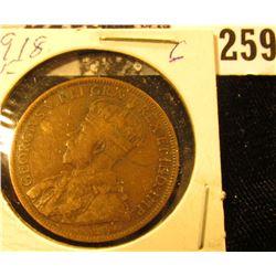 1918 Canada Large Cent, Fine.