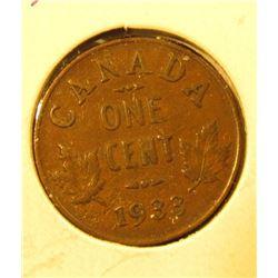 1933 Canada Small Cent, Extra Fine.