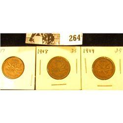 1947, 48, & 49 Canada Small Cents, Extra Fine.