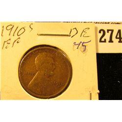 1910 S U.S. Wheat back Cent, EF.