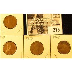 1911, 12, 13, & 14 U.S. Wheat back Cents, Good.