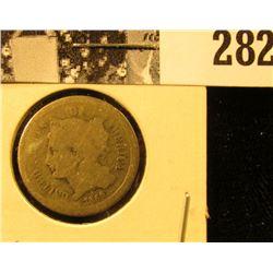 1865 U.S. Civil War Three Cent Nickel, Good.