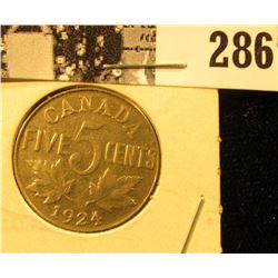 1924 Canada Nickel, EF.