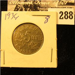 1936 Canada Nickel, EF.