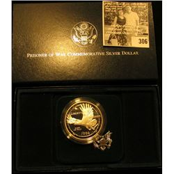 1994 P U.S. Veterans Prisoner of War Proof Commemorative Silver Dollar in original box of issue with